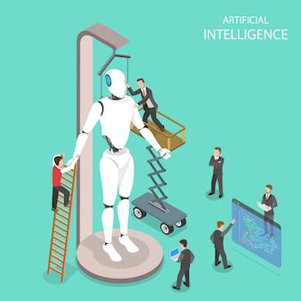 Płaska izometryczna koncepcja sztucznej inteligencji, cyber-umysłu, uczenia maszynowego, cyfrowego mózgu, cybermózgu.