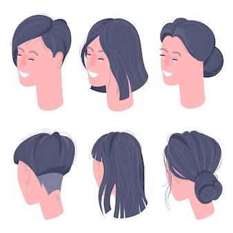 Płaska izometryczna postać kobiety na czele uśmiechniętych twarzy ustawionych do animacji i projektowania postaci