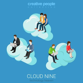 Płaska izometryczna technologia internetowa niebo chmura dziewięć