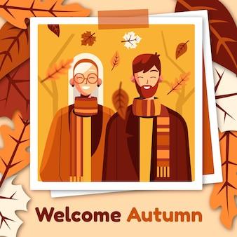 Płaska jesienna ilustracja