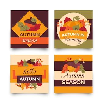 Płaska jesienna kolekcja kart