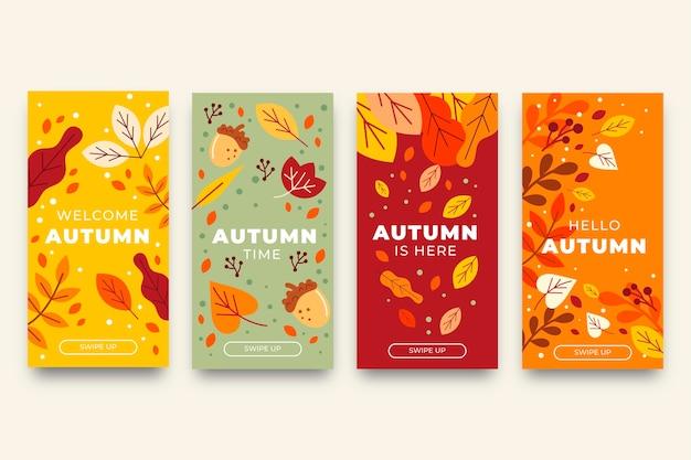 Płaska jesienna kolekcja opowiadań na instagramie