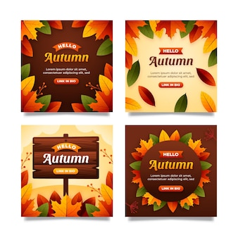 Płaska jesienna kolekcja postów na instagramie