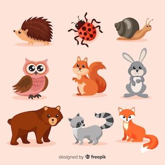 Płaska jesienna kolekcja zwierząt leśnych