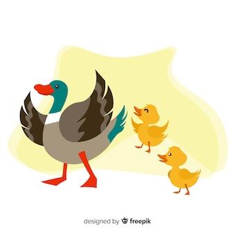 Płaska kaczka matki czuje się szczęśliwa z kaczątkami
