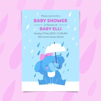Płaska karta baby shower z chuva de amor