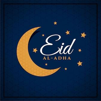 Płaska karta eid al adha z księżycem i gwiazdami