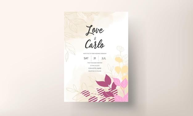 Płaska karta ślubu kwiatowy wzór ze złotymi liśćmi