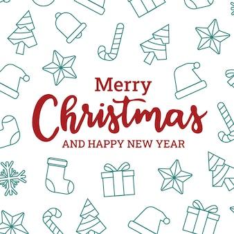 Płaska kartka bożonarodzeniowa z uroczą ikoną świąt