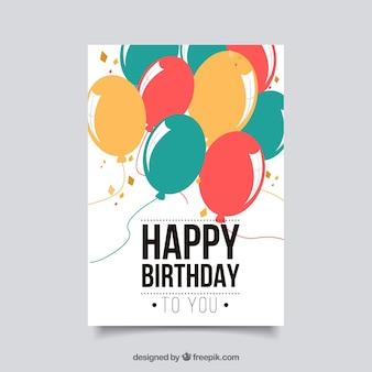 Płaska kartka urodzinowa z balonami