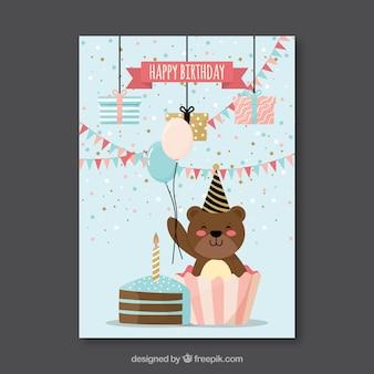 Płaska kartka urodzinowa z niedźwiedzia