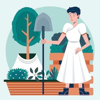 Płaska Kobieta Dbająca O Rośliny Ilustracja Darmowych Wektorów