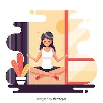 Płaska kobieta korzystających z medytacji