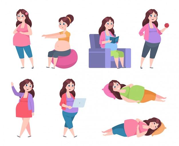 Płaska kobieta w ciąży. zdrowe ćwiczenia dla mam, dieta ciążowa, czytanie, spanie i odpoczynek szczęśliwej młodej mamy.
