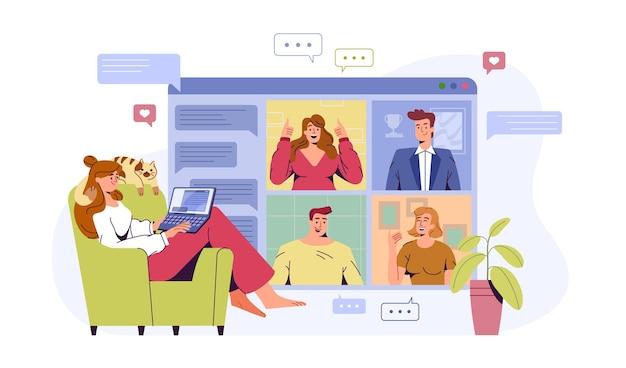 Płaska kobieta w domowym biurze z laptopem prowadzenie spotkania wideo, budowanie zespołu z kolegami. dziewczyna na czacie i rozmowach z przyjaciółmi online. ilustracja wektorowa do wideokonferencji lub pracy zdalnej.