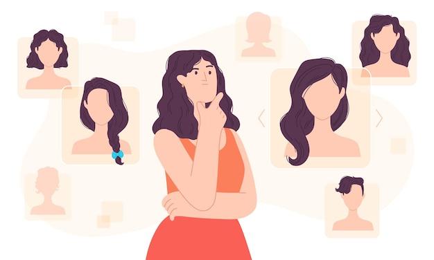 Płaska kobieta wybiera fryzurę w przestrzeni cyfrowej. stylistka aplikacja do strzyżenia włosów. wybór fryzury dziewczyny na koncepcji wektora pływającego ekranu cyber. internetowy salon kosmetyczny z inną fryzurą