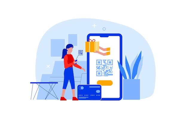 Płaska kobieta z telefonem komórkowym w ręce zeskanować kod qr do płatności online. postać za pomocą aplikacji skanera smartfona do skanowania kodów kreskowych lub technologii transakcji pieniężnych. koncepcja zakupów zbliżeniowych.