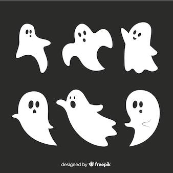 Płaska kolekcja animowanych duchów halloween