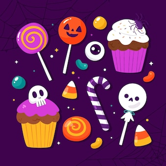 Płaska kolekcja cukierków halloween