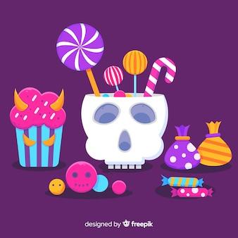 Płaska kolekcja cukierków z czaszką halloween