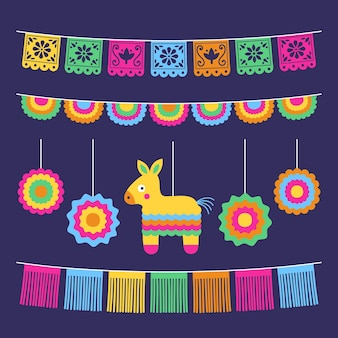 Płaska kolekcja dekoracji cinco de mayo