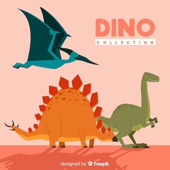 Płaska kolekcja dinozaurów