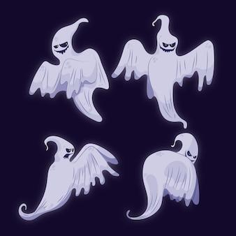 Płaska kolekcja duchów halloween