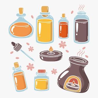 Płaska kolekcja elementów aromaterapii