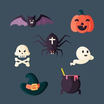 Płaska kolekcja elementów halloween