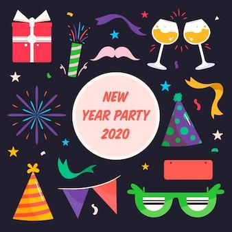 Płaska kolekcja elementów nowego roku party