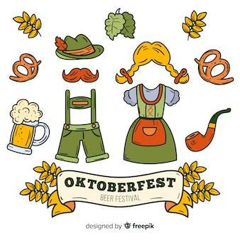 Płaska kolekcja elementów oktoberfest z ubraniami