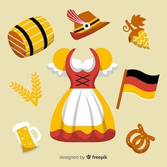 Płaska kolekcja elementów oktoberfest