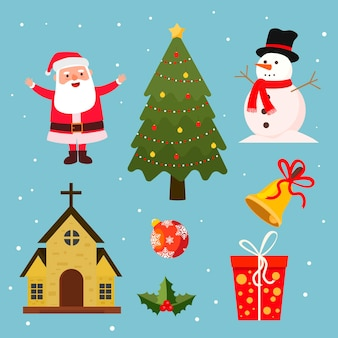 Płaska kolekcja elementów świątecznych