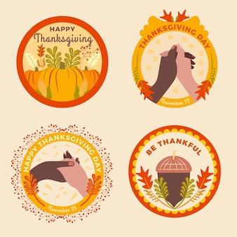 Płaska kolekcja etykiet dziękczynienia