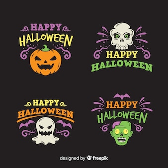 Płaska kolekcja etykiet halloween