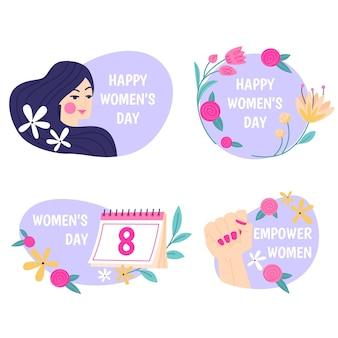 Płaska kolekcja etykiet na międzynarodowy dzień kobiet