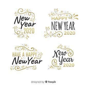 Płaska kolekcja etykiet na nowy rok 2020