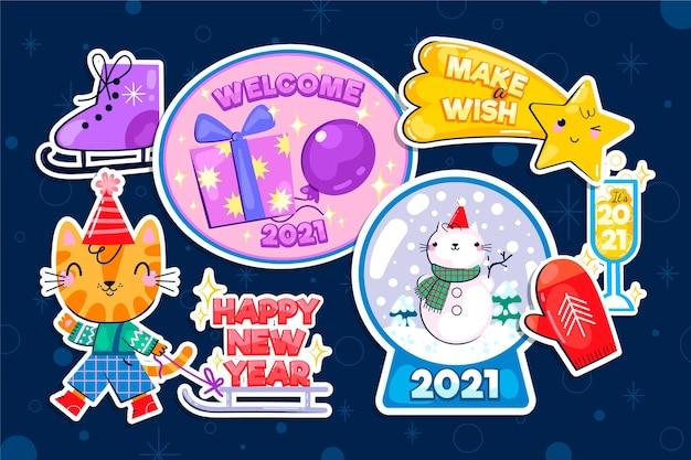 Płaska kolekcja etykiet nowego roku 2021