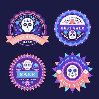 Płaska kolekcja etykiet sprzedaży dia de muertos