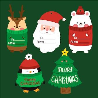 Płaska kolekcja etykiet świątecznych