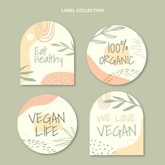 Płaska kolekcja etykiet żywności ekologicznej