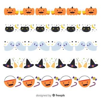 Płaska kolekcja granica halloween na białym tle