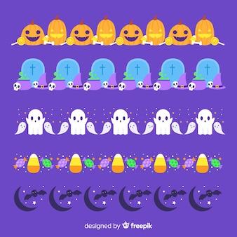 Płaska kolekcja granica halloween na fioletowym tle