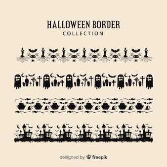 Płaska kolekcja granicy halloween