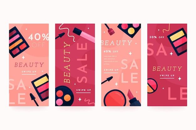Płaska kolekcja historii na instagramie urody beauty