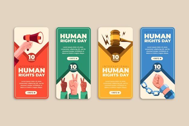 Płaska kolekcja historii na instagramie z okazji międzynarodowego dnia praw człowieka