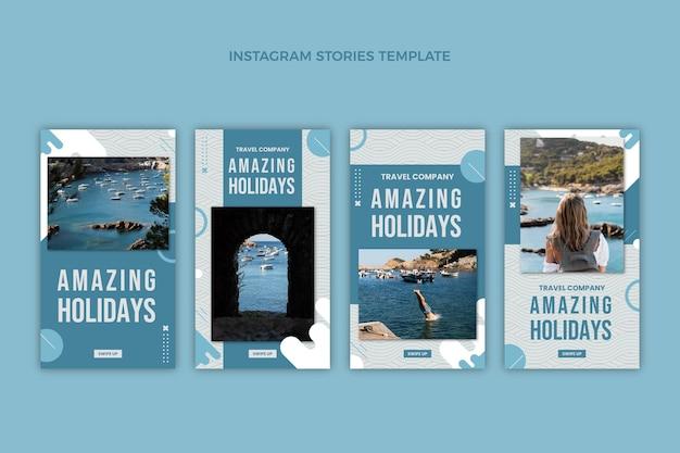 Płaska kolekcja historii podróży na instagramie