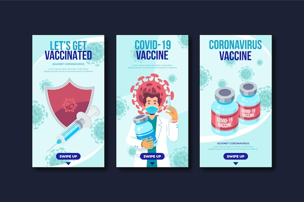 Płaska kolekcja historii szczepionek na instagramie