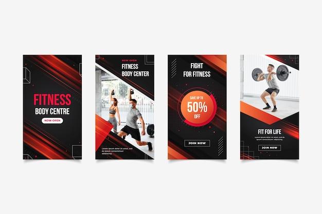 Płaska kolekcja historii zdrowia i fitness &