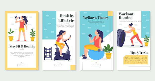 Płaska kolekcja historii zdrowia i kondycji
